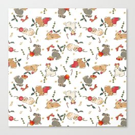 Bunnies and gifts Canvas Print