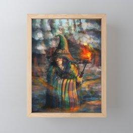 wizard in forest Framed Mini Art Print