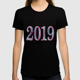 red floral patterned number 2019 T-shirt