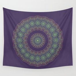 Lotus Mandala in Dark Purple Wall Tapestry