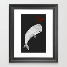 Whale with Balloons Framed Art Print