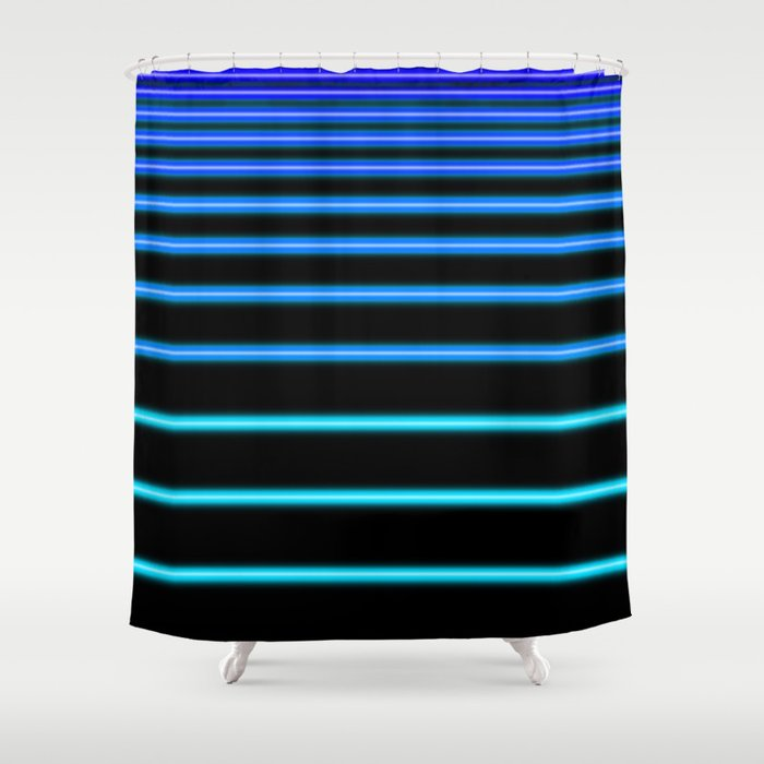 Turquoise To Blue Neon Shower Curtain