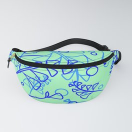 Vector botanical bright pattern of blue and cobalt plants and grass on a blue background. For paper Fanny Pack