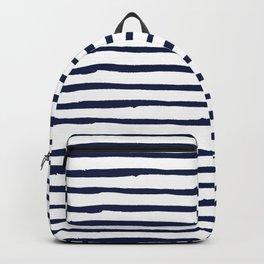Navy Blue Stripes on White Backpack