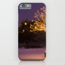 Gold lights Christmas Tree and dark outside iPhone Case