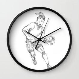 Female Basketball Player Doodle Art Wall Clock