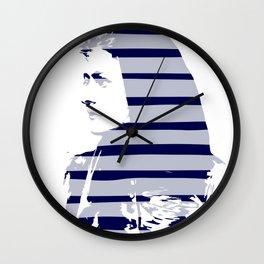 Blue Woman Vintage Illustration Minimal with stripes Wall Clock