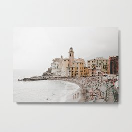 Italian Riviera, Camogli by the sea | seaside village, pastel buildings and summer beach | fine art travel prints  Metal Print