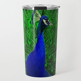 Decorative Blue & Green Peacock Art Design Travel Mug