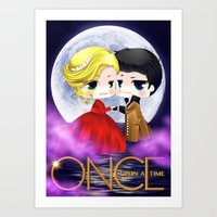 captain swan Art Prints featuring OUAT - Chibi Captain Swan Dance by Yorlenisama