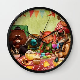 Woodland Friends at Teatime in Forest Wall Clock