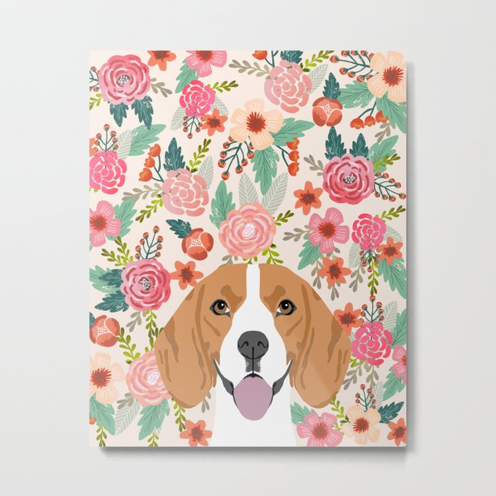 Beagle florals cute spring pet portrait dog lover gift idea beagle owners must haves flower power Metal Print
