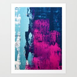 Early Bird: A vibrant minimal abstract piece in blues and pink by Alyssa Hamilton Art Art Print