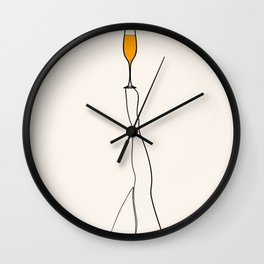 Holidays at home, glass of wine, champagne, stay home, party, cocktail, women legs Wall Clock