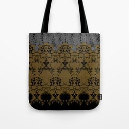 Damask Texture Border in Browns and Black Tote Bag