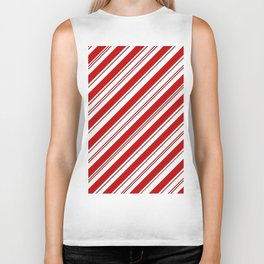 winter holiday xmas red white striped peppermint candy cane Biker Tank