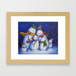 Snow Family Portrait Framed Art Print