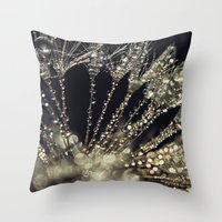 gold glitter Throw Pillows featuring glitter and gold by Bonnie Jakobsen-Martin