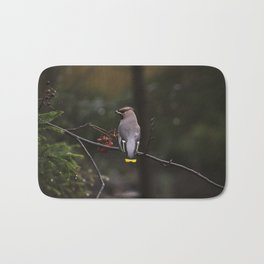 Bohemian waxwing on rowan tree branch Bath Mat