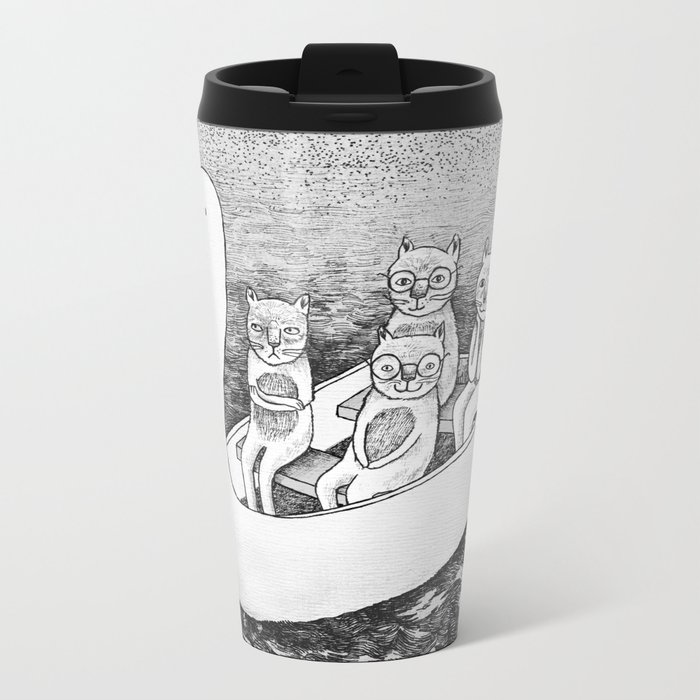 4 cats on a boat Metal Travel Mug