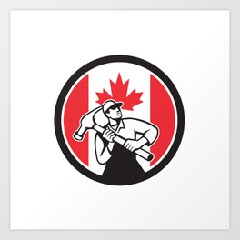 Canadian Handyman Canada Flag Icon Art Print