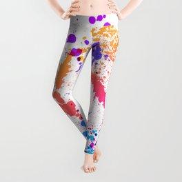Energetic Expressive Multicolor Paint Splatter Leggings