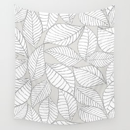 Leaves on gray Wall Tapestry