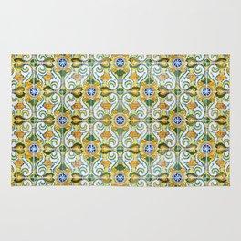 Seamless Floral Pattern Ornamental Tile Design : 9 yellow, green Rug