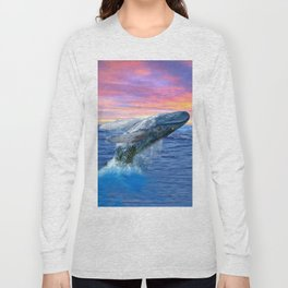 Breaching Humpback Whale at Sunset Long Sleeve T-shirt