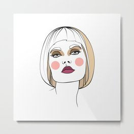 Blonde woman with makeup. Abstract face. Fashion illustration Metal Print