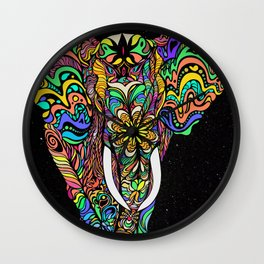 Cosmic elephant love Wall Clock