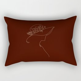 Line art drawing lovely girl wearing a hat with flower illustration Rectangular Pillow