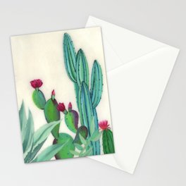 Desert Calm - Blooming Cactus painting by Ashey Lane Stationery Cards