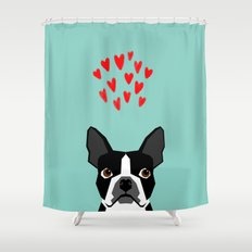 Boston Terrier - Hearts, Cute Funny Dog Cute Valentines Dog, Pet, Cute, Animal, Dog Love,  Shower Curtain