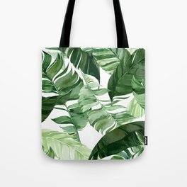 Green leaf watercolor pattern Tote Bag