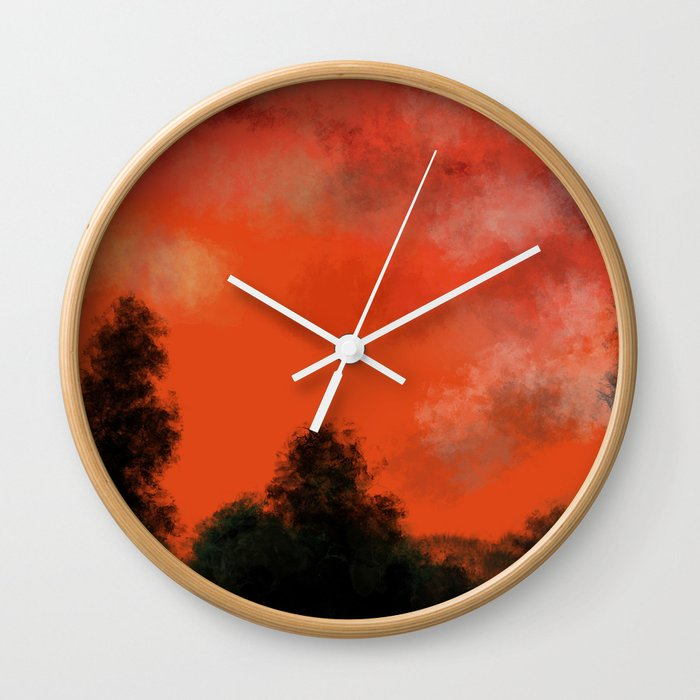 Coral sunrise Wall Clock