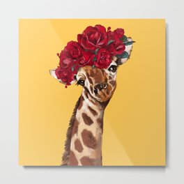 Giraffe with Rose Flower Crown in Yellow Metal Print