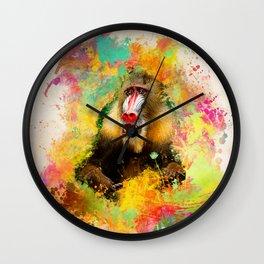 Monkey Mandrill Wall Clock