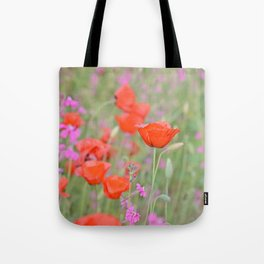 Poppies and Campions Tote Bag