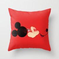 mickey Throw Pillows featuring Deconstructing Mickey by ErDavid