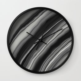 Liquid Black Gray White Agate Dream #2 #gem #decor #art #society6 Wall Clock