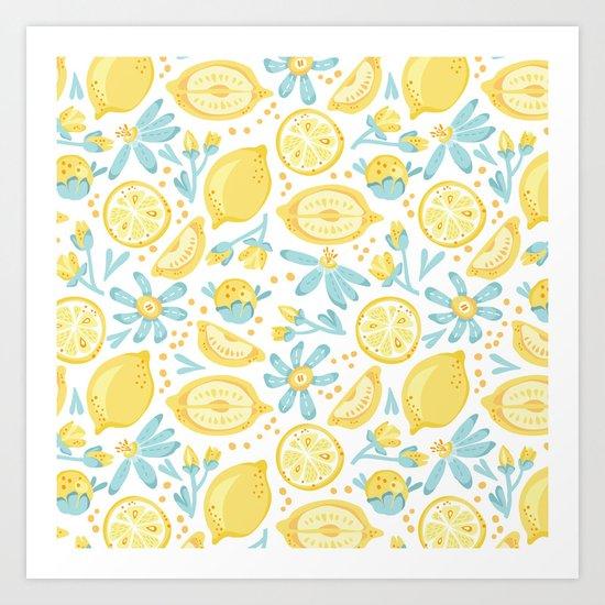 Lemon pattern White Art Print