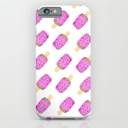 Modern pink watercolor ice cream pattern iPhone Case