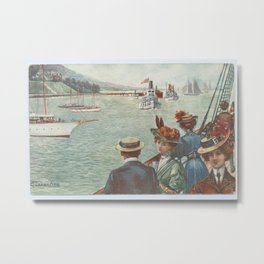 Vintage Victorian Nautical Design Metal Print