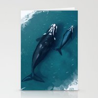 whales Stationery Cards featuring whales by Daniela Di Gennaro