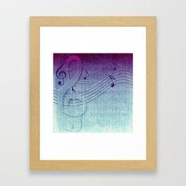 Aqua Purple Ombre Music Notes Framed Art Print