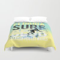 surf Duvet Covers featuring surf by ulas okuyucu
