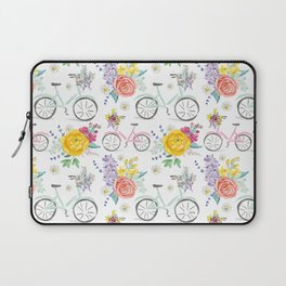 Bike and bouquets pattern Laptop Sleeve