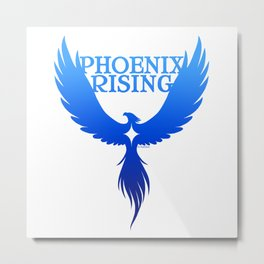 PHOENIX RISING blue with star center Metal Print