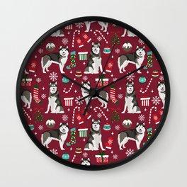 Alaskan Malamute dog christmas pattern candy canes christmas presents Wall Clock